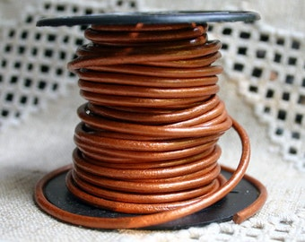 3mm Leather Cord Metallic Dusty Brown 1 Meter Round Cording