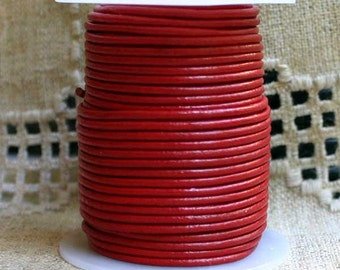 2mm Leather Cord - Red - 6 Feet Premium Quality Round Cording