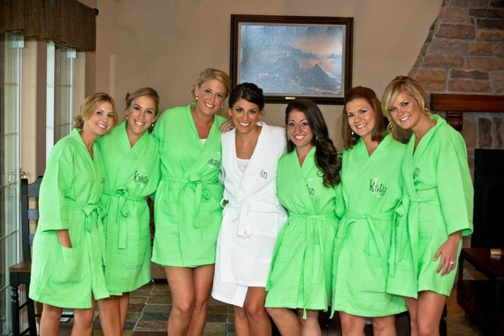 7 Monogrammed Spa Robes Bridesmaids gift Personalized Front embroidery is included