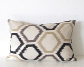 Dwell Studio Ikat Trellis Toffee decorative pillow cover