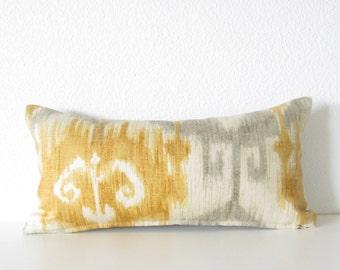 Modesto Chamon Ikat yellow gray 8x16 mini lumbar pillow cover