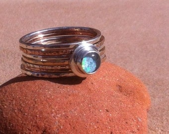 Silver and Gold Fill Hammered Stack Ring with Opal Triplet