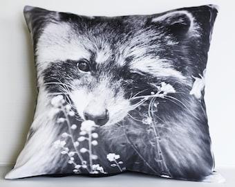 "Throw cushion decorative pillow animal pillow RACCOON  woodland cushion cover, pillow, 16"", 41cms"