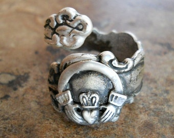 The ORIGINAL Irish Claddagh Spoon Ring,*** Exclusive Design Only by Enchanted Lockets