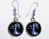 Libra Horoscope Zodiac Art Earrings, Round Photo & Resin Charms Earrings - Personalized Double Sided