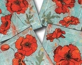 Red Poppies on Blue Handmade Glass Beveled Decoupage Coaster Set of Four - GeoForms Collection