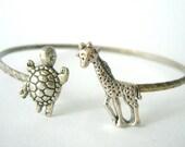 Giraffe cuff bracelet with a turtle wrap style, animal bracelet, charm bracelet, bangle