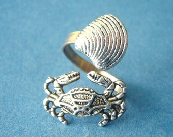crab ring with a shell wrap style, adjustable ring, animal ring, silver ring, statement ring