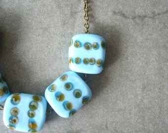 turquoise chunky necklace, handmade jewelry