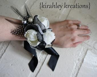 Black Silver Wristlet Prom Corsage Ivory Rose Flower Gray Duck Feather Guinea Berry ELISE Wedding Bridesmaid Bracelet Gift Customizable