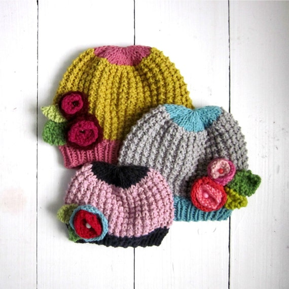 Knitting Patterns For Toddler Girl Hats : KNITTING PATTERN baby girl hat with flowers PDF instant