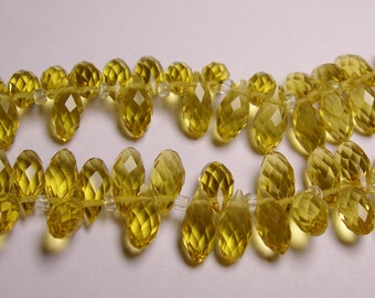 Faceted teardrop crystal briolette beads - 24 pcs - 12mm by 6mm - top sideways drill - yellow topaz