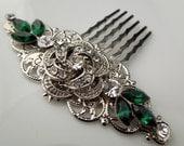 Bridal Rhinestone Hair Comb, Wedding Rhinestone Hair Comb, Rose Rhinestone Hair Comb, Swarovski Crystals, Emerald Green, ROSELANI