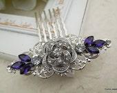 Bridal Rhinestone Hair Comb,Wedding Rhinestone Hair Comb,Purple Hair Comb,Swarovski Crystal,Purple,Wedding Hair Comb,Rose Hair Comb,ROSELANI