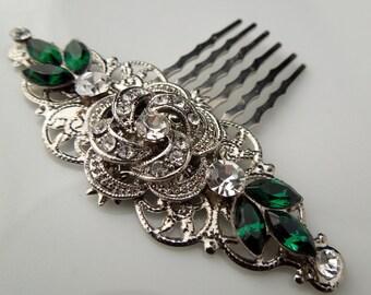 Bridal green Swarovski Crystal Wedding Comb Wedding Hair Accessories Vintage Style green Leaf Rhinestone flower Bridal Hair Comb ROSELANI