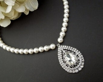 Pearl Necklace,Bridal Rhinestone Necklace,Ivory or White Pearls,Pearl and Rhinestone Necklace,Statement Bridal Necklace,Pearl,Bride,FERNANDA