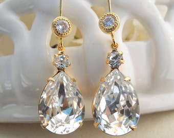 Swarovski Crystal Bridal Earrings Gold Rhinestone Earrings Gold Bridal Earrings Statement Bridal Earrings Crystal teardrop Earrings ARIA