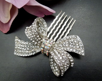 Rhinestones Bow Brooch,Statement Hair Comb,Weddding Hair Comb, Bridal Rhinestone Hair Comb,Vintage Wedding Jewelry,Bow Hair Comb,  ANASTASIA