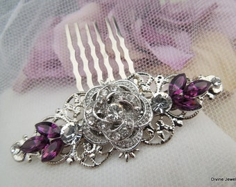 Bridal Purple Swarovski Crystal Wedding Comb Wedding Hair Accessories Vintage Style Purple Leaf Rhinestone flower Bridal Hair Comb  ROSELANI