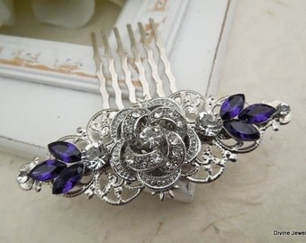 Bridal Purple Swarovski Crystal Wedding Comb Wedding Hair Accessories Vintage Style Purple Leaf Rhinestone flower Bridal Hair Comb ROSELANI