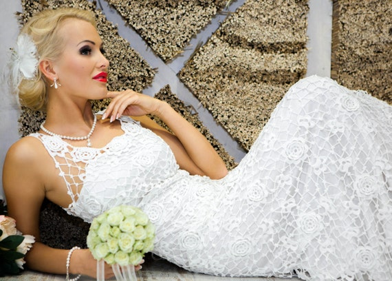 Items similar to sale half price was usd999 exclusive for Crochet wedding dresses for sale