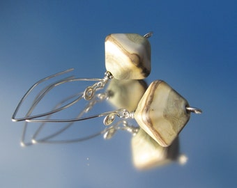 Artisan Lampwork and Sterling Silver Earrings - Stone Diamonds