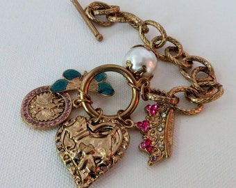Chunky Couture Gold Large Charm Bracelet///Vintage Charm Bracelet///Gold Link Chunky Charm Bracelet///Etsy Vintage Jewelry Team