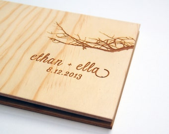 Wedding Guest Book Wood. Small Wedding Guestbook. Custom Wedding Gift : petite boab branch