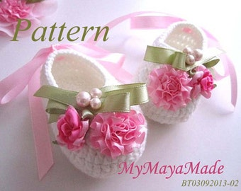 Crochet Pattern - Pink Flowery Beaded Crochet Baby Booties PDF Pattern - BT03092013-002 - Instant Download