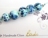 Blue Hawaii- Handmade Lampwork Beads - Set of 5  - FHFTeam