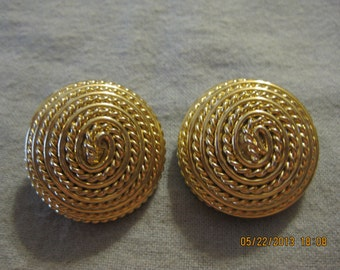 Gold Plated Twist Wound Rope Clip On Earrings