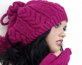 Cherry Color Knitting Hat and gloves-Pon pon hat-Set-fingerless gloves hat set