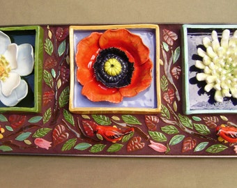 Flower Box Trio Wall Hanging, Ceramic Shadow Boxes, Home or Garden Decor Mosaic Sculpture