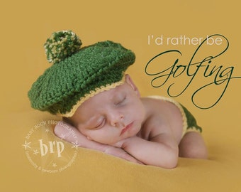 Little Golfer Hat and Diaper Cover/ Golfer Newborn Prop/Driver Cap