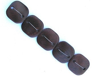 Five Brown Tagua Nut Beads, DD, Flat Square Beads, 25mm Beads, Natural Beads, Organic Beads, Vegetable Ivory Beads, EcoBeads