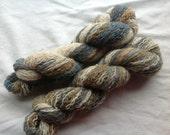 500 yards Lambswool Reclaimed Yarn cream tan brown blue