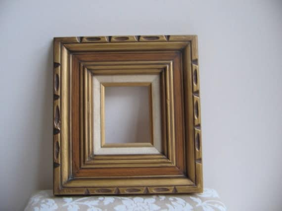 Vintage Carved Wood Picture Frame Mexico Gold Beveled Chunky