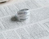 Comfortably Numb Adjustable Hand Stamped Aluminum Twist Ring  By Inspired Jewelry Designs