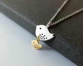 Mother and Son Necklace - Also Available in Gold, Family Bird Necklace, Baby Shower Jewelry, New Mothers Gift, Mom Necklace