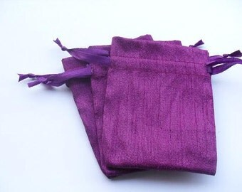 "100 Purple Dupioni Silk drawstring Pouch 3"" X 4"" for stamping jewelry bath salts herbs handmade soap"