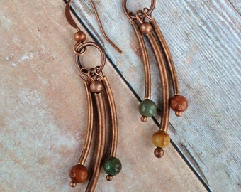 Copper Earrings / Copper and Stone Earrings / Natural Stone Earrings