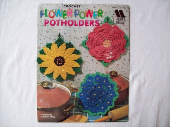 Crochet Potholder Patterns Flower Power By Cozyhomecrochet