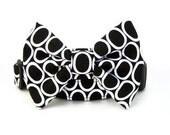 Black Bow Tie Dog Collar - Circles On Black
