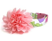 Pink Floral Dog Collar with Flower Accessory