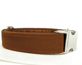 Satin Wedding Dog Collar - Copper