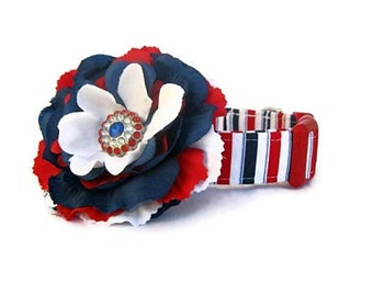 Red White Blue Dog Collar with Flower Accessory - Patriot Stripes