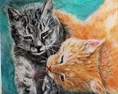 Cat Art, Original Painting, Painting on Ampersand White Clayboard, 6 x 6 inch Kitten Art