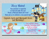 Pirate and Mermaid Birthday Invitation Mermaid and Pirate Birthday Party Invite Twins Printable