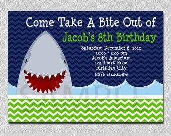 Shark Birthday Invitation,  Shark Birthday Party Invitation Printable, Printed Invitations, Birthday Invitations,  Shark Party