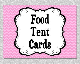 Matching Food Tent Cards Food Label Cards